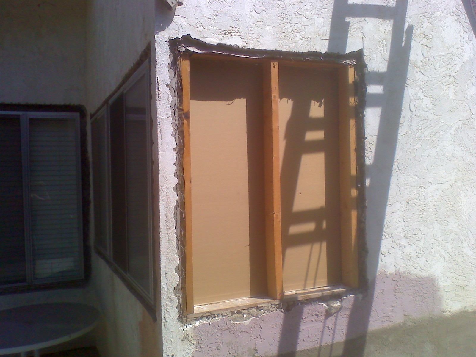 framing in windows to fill in window hole