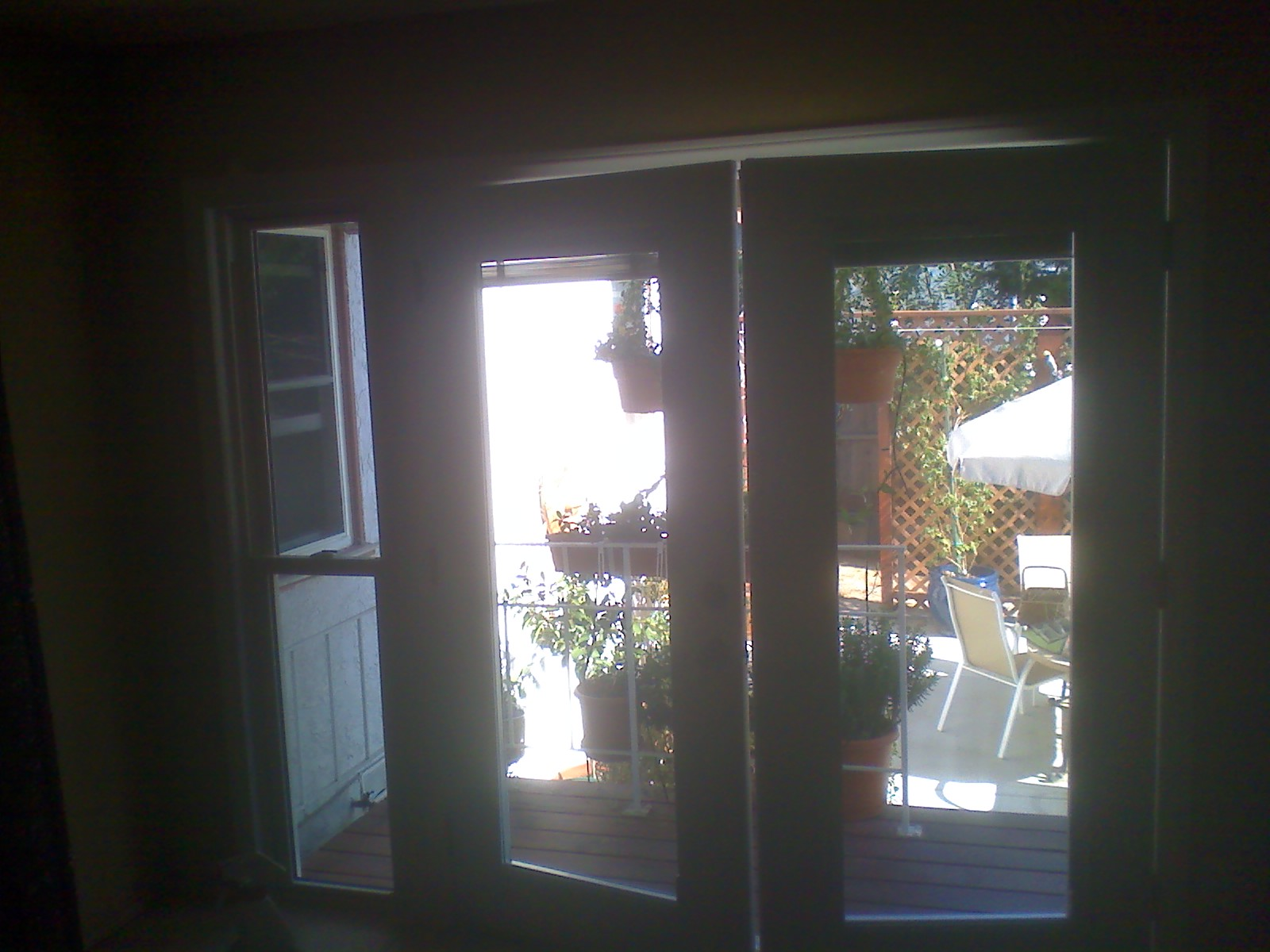 installed a double hung window on left and french swing door on right